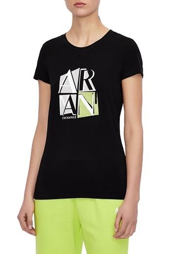 Armani Exchange  Baskılı Pamuklu Bisiklet Yaka T Shirt Kadın T Shırt 3Kytgh Yj7Gz 1200 Siyah